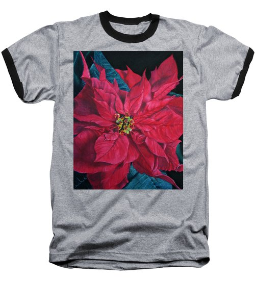 Poinsettia II Painting Baseball T-Shirt