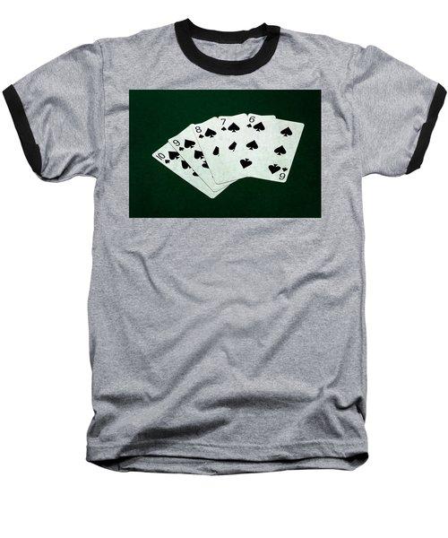 Poker Hands - Straight Flush 1 Baseball T-Shirt by Alexander Senin