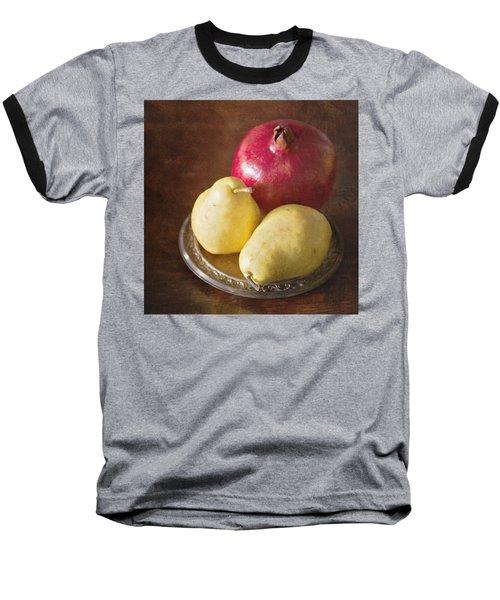 Pomegranate And Yellow Pear Still Life Baseball T-Shirt