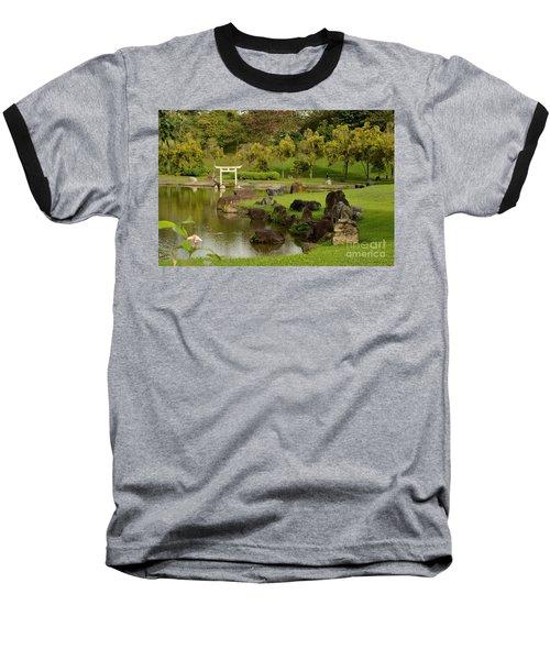 Pond Rocks Grass And Japanese Arch Singapore Baseball T-Shirt