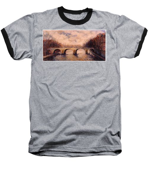 Baseball T-Shirt featuring the painting Pont Sur La Seine by Walter Casaravilla