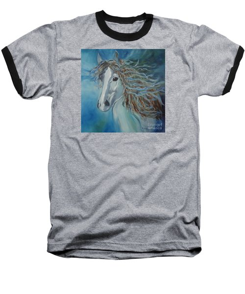 Baseball T-Shirt featuring the painting Pony by Jenny Lee