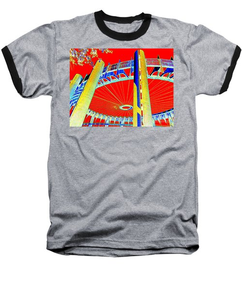 Pop Goes The Pavillion Baseball T-Shirt by Ed Weidman