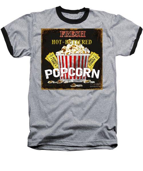 Popcorn Please Baseball T-Shirt by Jean Plout