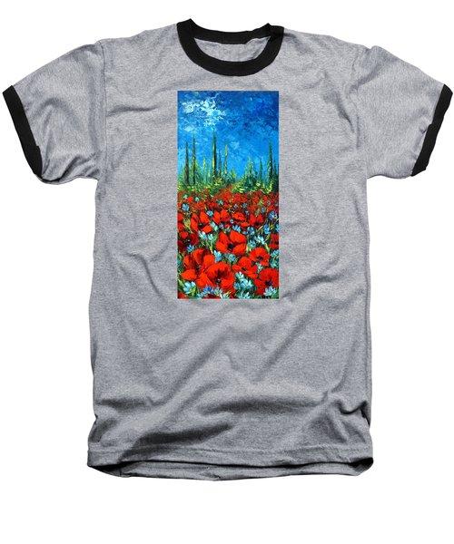 Poppie Field Baseball T-Shirt by Katia Aho