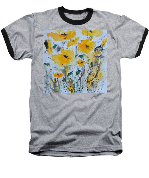 Baseball T-Shirt featuring the painting Poppies 03 by Ismeta Gruenwald