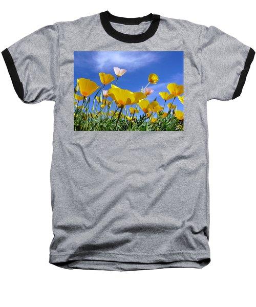 Poppies And Blue Arizona Sky Baseball T-Shirt by Lucinda Walter