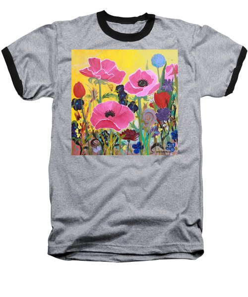Poppies And Time Traveler Baseball T-Shirt