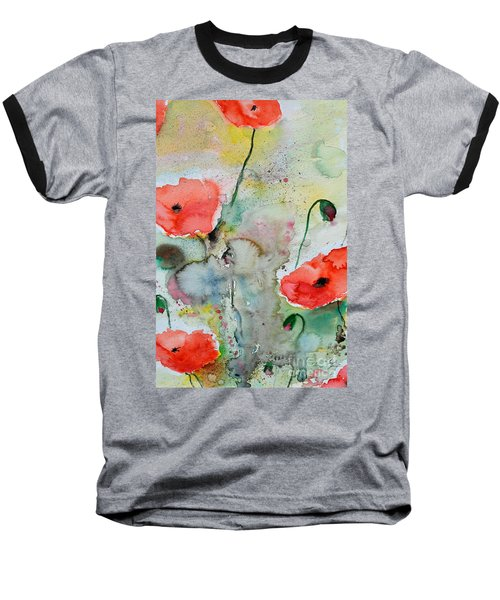 Poppies - Flower Painting Baseball T-Shirt