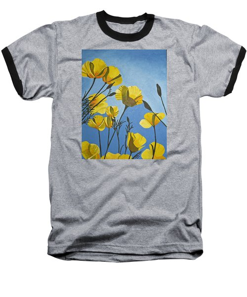 Poppies In The Sun Baseball T-Shirt by Donna Blossom