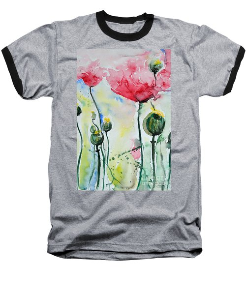 Baseball T-Shirt featuring the painting Poppies by Ismeta Gruenwald