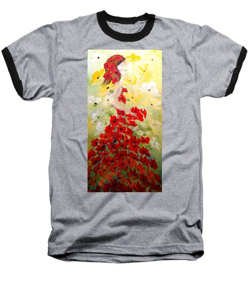 Poppies Lady Baseball T-Shirt by Dorothy Maier
