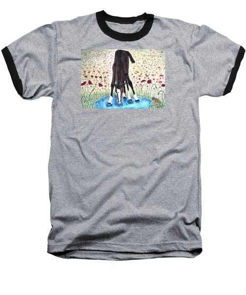 Baseball T-Shirt featuring the painting Poppies N  Puddles by Angela Davies