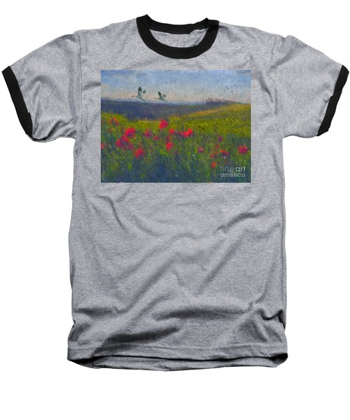 Baseball T-Shirt featuring the digital art Poppies Of Tuscany by Lianne Schneider