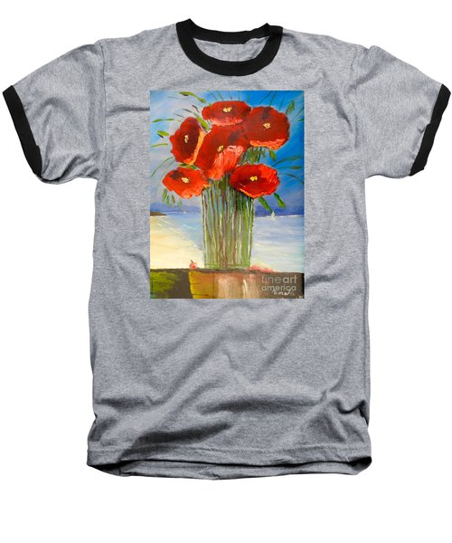 Baseball T-Shirt featuring the painting Poppies On The Window Ledge by Pamela  Meredith