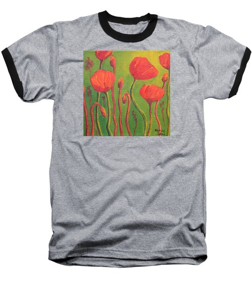 Baseball T-Shirt featuring the painting Poppy Field by Nancy Jolley
