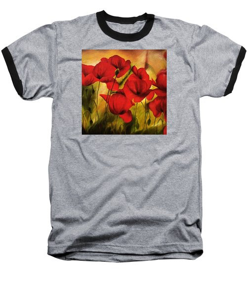 Poppy Flowers At Dusk Baseball T-Shirt