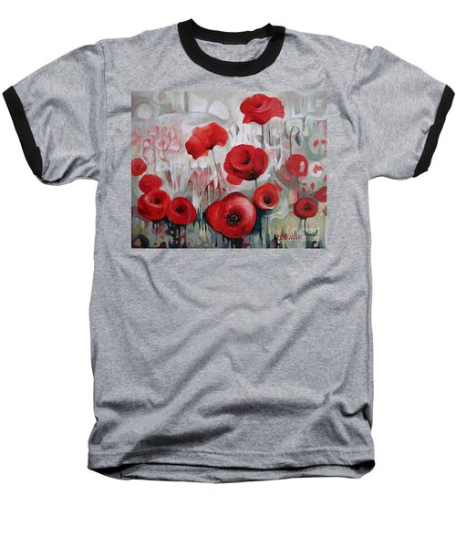 Baseball T-Shirt featuring the painting Poppy Flowers by Elena Oleniuc