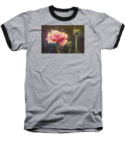 Poppy Glow Baseball T-Shirt by Karen Whitworth