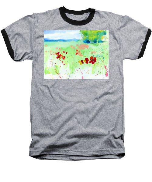 Poppy Passion Baseball T-Shirt by C Sitton