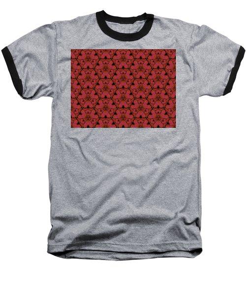 Baseball T-Shirt featuring the digital art Poppy Sierpinski Triangle Fractal by Judi Suni Hall