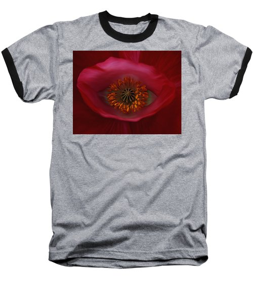 Baseball T-Shirt featuring the photograph Poppy's Eye by Barbara St Jean