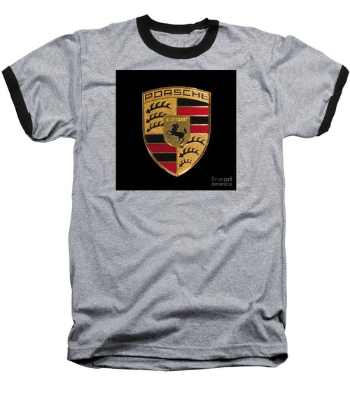 Porsche Emblem - Black Baseball T-Shirt by Scott Cameron