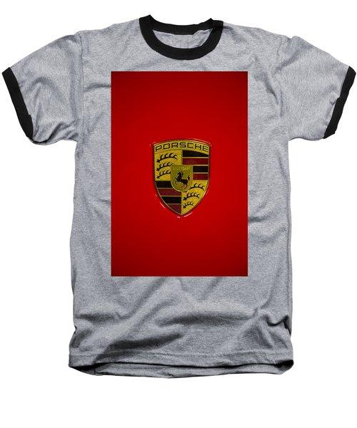 Porsche Emblem Red Hood Baseball T-Shirt