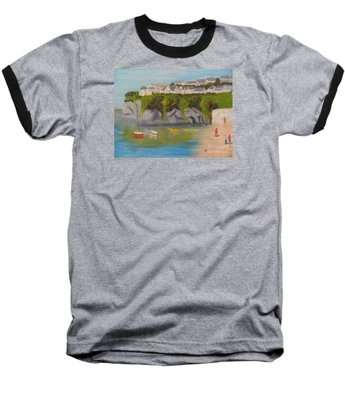 Baseball T-Shirt featuring the painting Port Asaac Cornwell by Pamela  Meredith