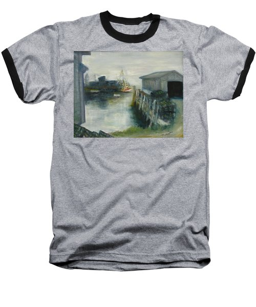 Port Clyde In Fog Baseball T-Shirt