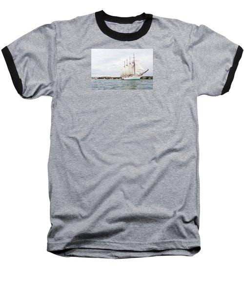 Juan Sebastian De Elcano Famous Tall Ship Of Spanish Navy Visits Port Mahon In Front Of Bloody Islan Baseball T-Shirt by Pedro Cardona