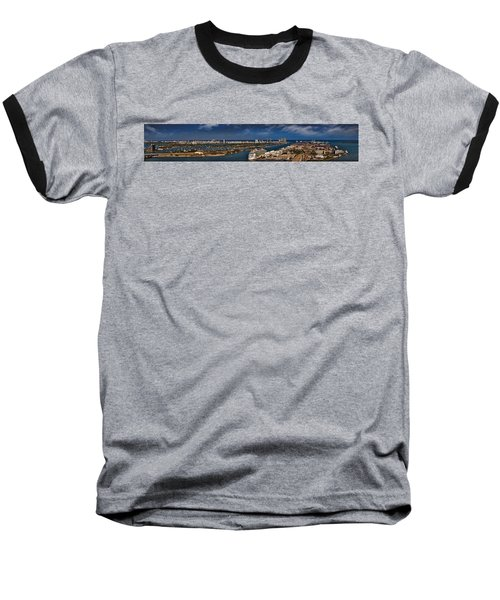 Port Of Miami Panoramic Baseball T-Shirt by Susan Candelario