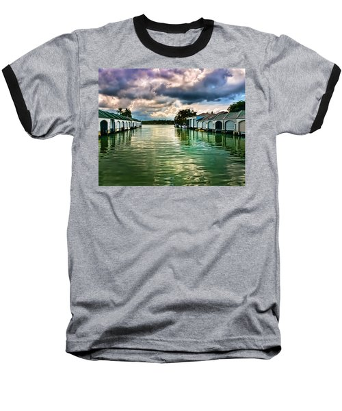 Storm Clouds Over  Port Royal Boathouses In Naples Baseball T-Shirt