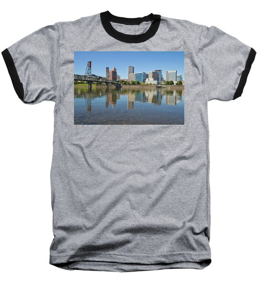 Baseball T-Shirt featuring the photograph Portland Downtown Skyline And Hawthorne Bridge by JPLDesigns