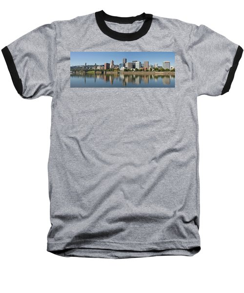 Baseball T-Shirt featuring the photograph Portland Downtown Waterfront Skyline Panorama by JPLDesigns