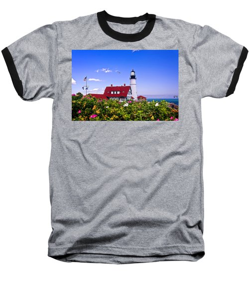 Portland Head Light And Roses Baseball T-Shirt