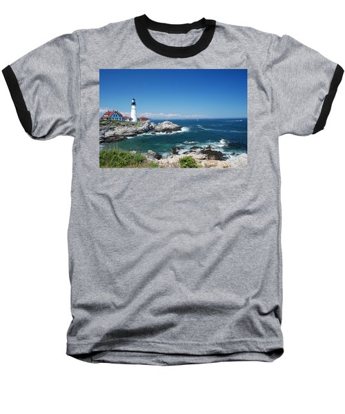 Portland Head Lighthouse Baseball T-Shirt by Allen Beatty
