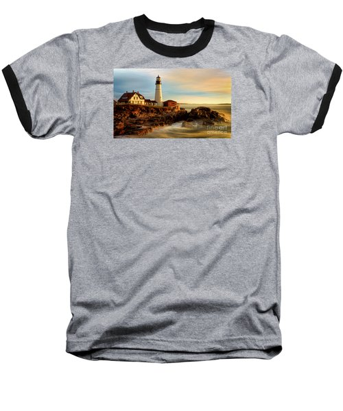 Portland Head Lighthouse At Dawn Baseball T-Shirt by Jerry Fornarotto