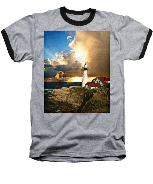 Portland Head Lighthouse Baseball T-Shirt