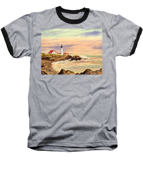 Baseball T-Shirt featuring the painting Portland Head Lighthouse Maine by Bill Holkham