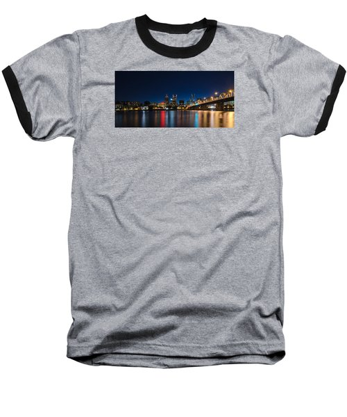 Portland Oregon Nightscape Baseball T-Shirt by Don Schwartz