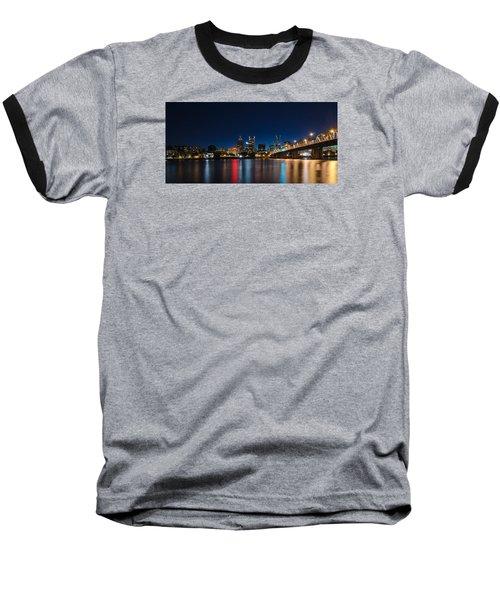 Portland Oregon Nightscape Baseball T-Shirt