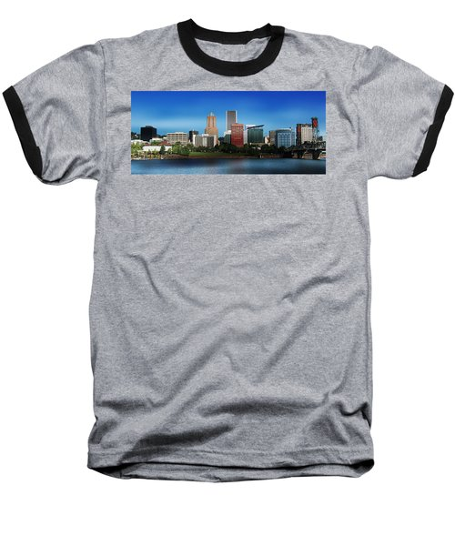 Portland Oregon Skyline  Baseball T-Shirt by Aaron Berg