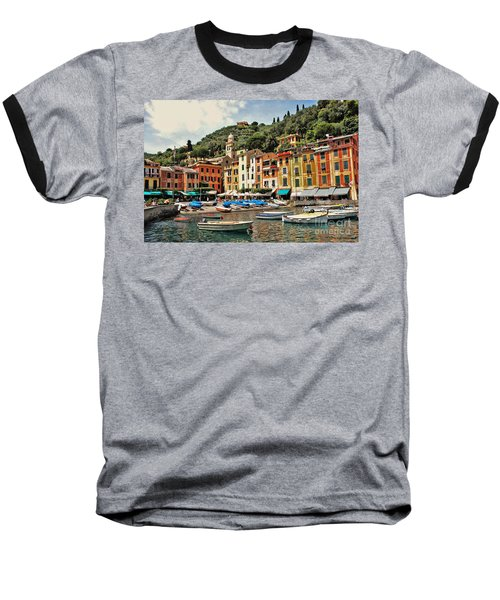 Portofino Harbor 2 Baseball T-Shirt by Allen Beatty