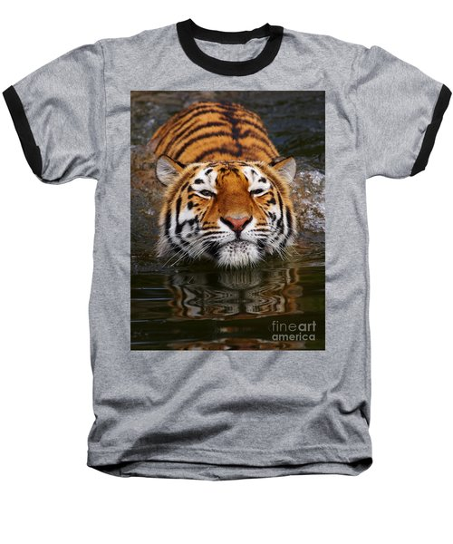 Portrait Of A Bathing Siberian Tiger Baseball T-Shirt