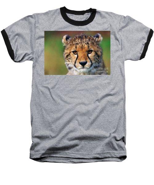 Portrait Of A Cheetah Cub Baseball T-Shirt by Nick  Biemans