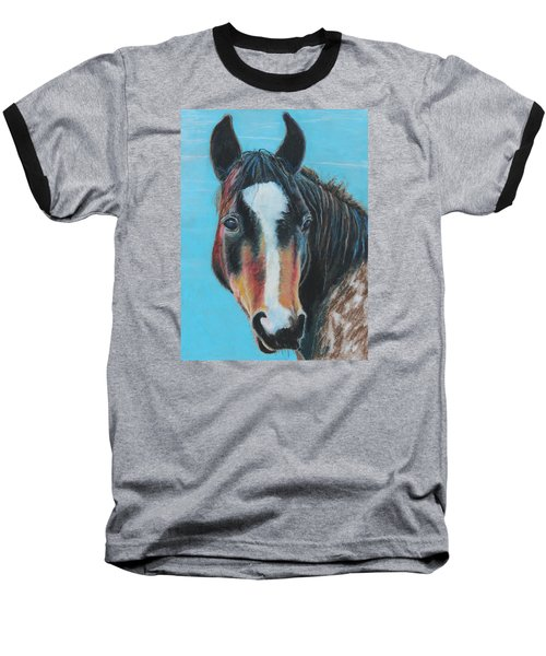 Baseball T-Shirt featuring the painting Portrait Of A Wild Horse by Jeanne Fischer