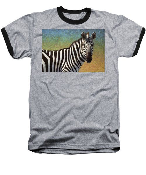 Baseball T-Shirt featuring the painting Portrait Of A Zebra by James W Johnson