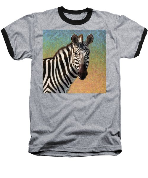 Baseball T-Shirt featuring the painting Portrait Of A Zebra - Square by James W Johnson