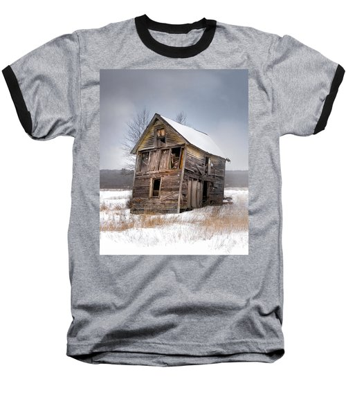 Portrait Of An Old Shack - Agriculural Buildings And Barns Baseball T-Shirt
